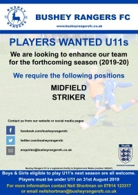 Players Wanted - U11 - 2019-20